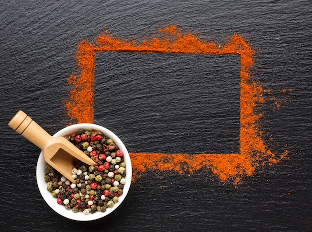 Top view frame made of spices powder Free Photo