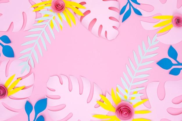 화려한 꽃과 잎의 상위 뷰 프레임 무료 사진