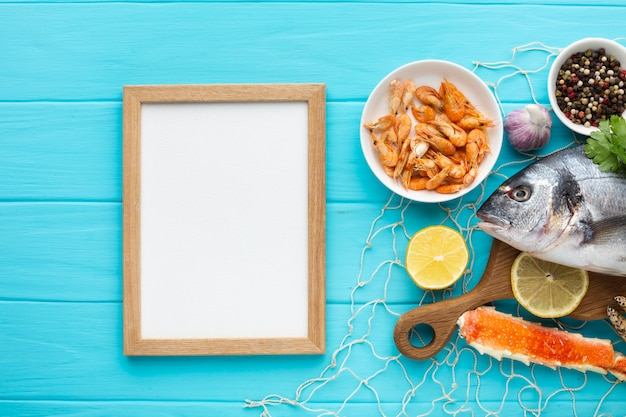Top view frame and seafood mix Free Photo