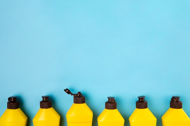 Top view frame with detergent bottles and copy-space Free Photo