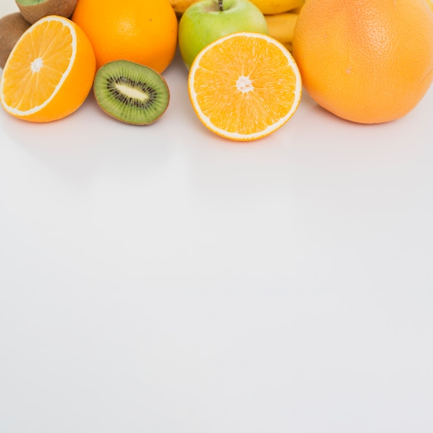 Top view frame with fruits and copy-space Free Photo