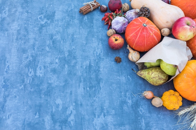 Top view frame with fruits and pumpkins Free Photo