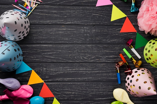 Top view frame with party decorations Free Photo