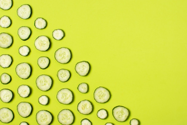 Top view frame with sliced cucumbers and copy-space Free Photo