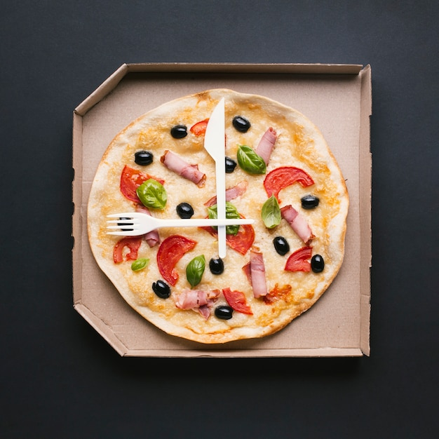 Top view fresh pizza in a box Free Photo
