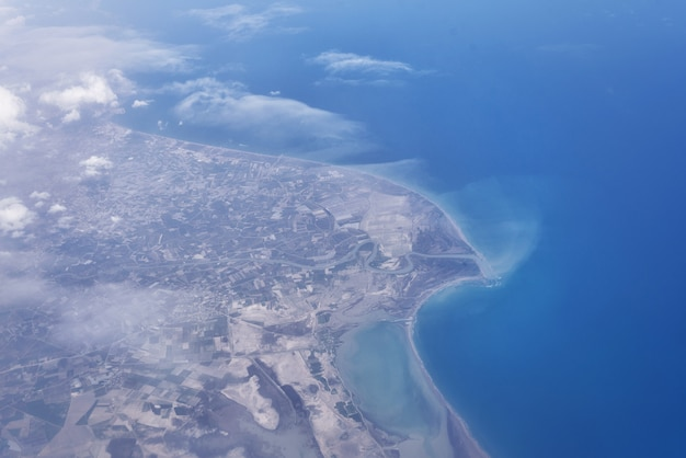 Top view from landing airplane. Premium Photo