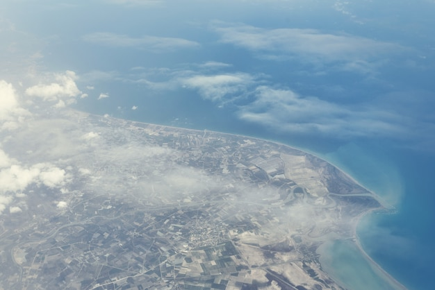 Top view from landing airplane Premium Photo