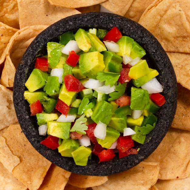 Top view fruit salad on tortilla chips Free Photo