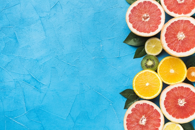 Top view of fruits concept with copy space Premium Photo