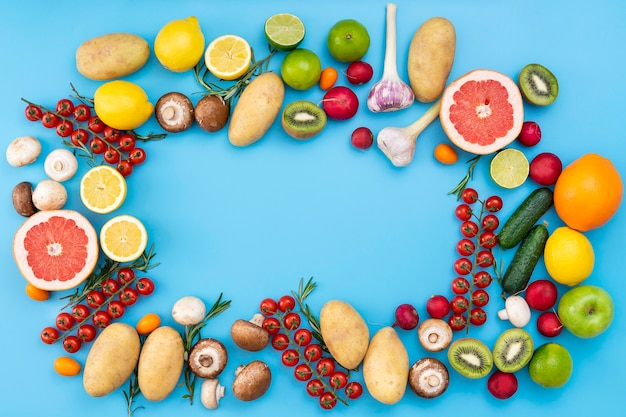 Top view fruits and vegetables Free Photo