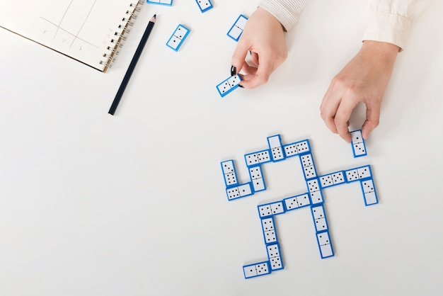 Top view game of domino Free Photo