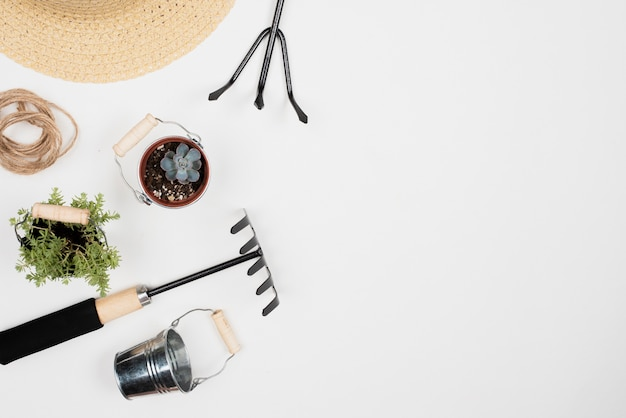 Top view of gardening tools with copy space Free Photo