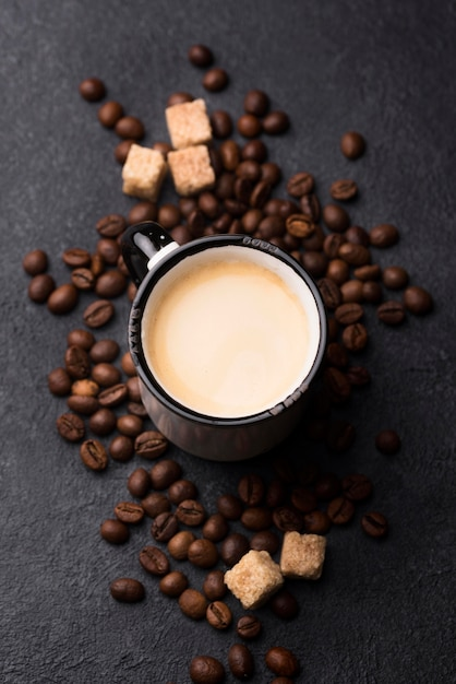 Top view glass of coffee on table Free Photo