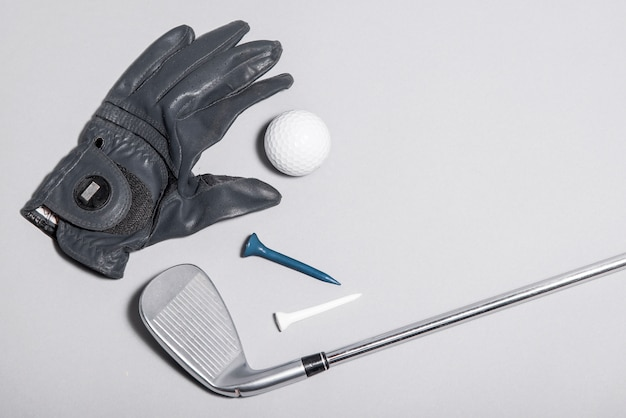 Top view glove and golf equipment Free Photo