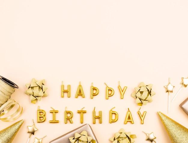 Top view golden birthday decorations frame Premium Photo
