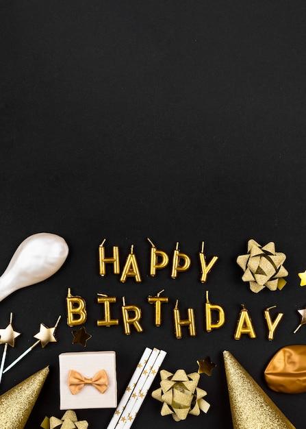 Вид сверху золотые свечи с днем рождения Бесплатные Фотографии