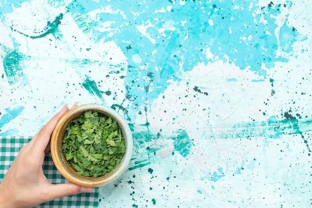 Vista dall'alto di verdure all'interno della ciotola su blu, ingrediente di farina alimentare verde Foto Gratuite