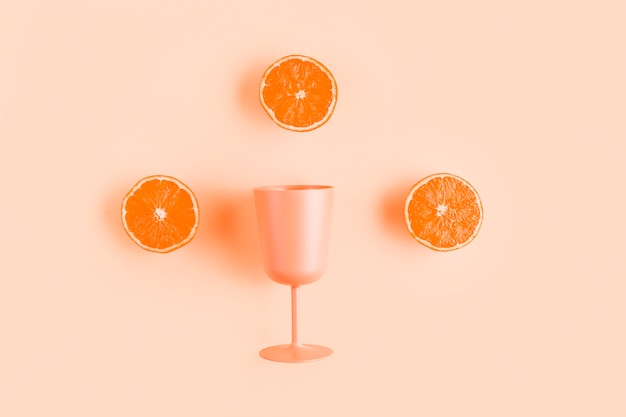 Top view half oranges with cup Free Photo
