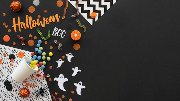 Top view halloween concept with copy space Premium Photo