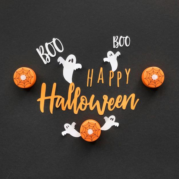 Vista dall'alto concetto di halloween con saluto Foto Gratuite