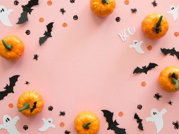 Вид сверху хэллоуин элементы с копией пространства Premium Фотографии