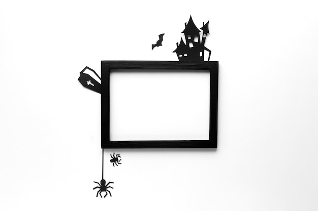 Top view halloween elements with frame Free Photo