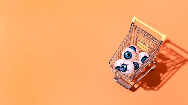 Вид сверху хэллоуин глазные шарики с копией пространства Бесплатные Фотографии