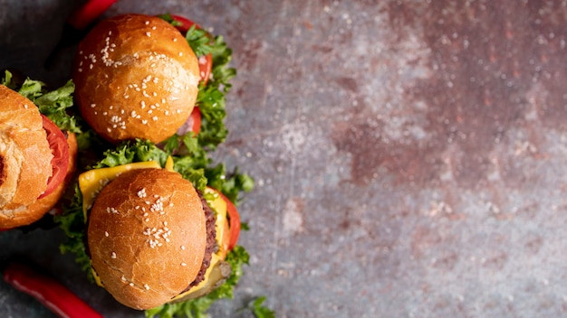 Top view hamburgers with copy space Free Photo
