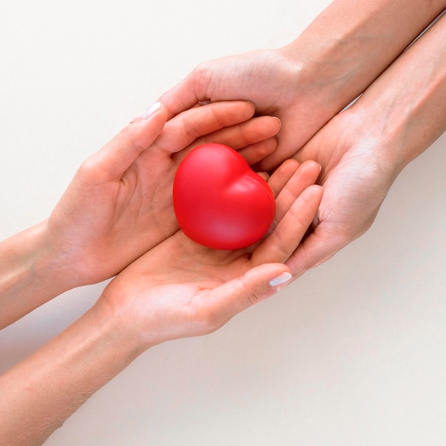 Top view of hands holding heart shape with care Premium Photo