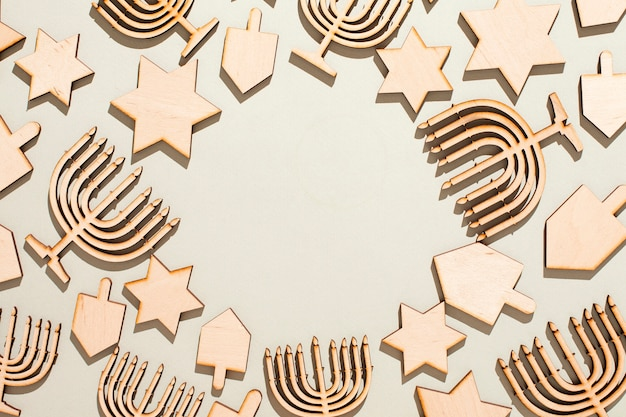 Top view hanukkah concept with copy space Free Photo