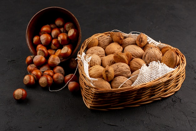 Top view hazelnuts and walnuts whole inside pot and basket on the dark floor Free Photo