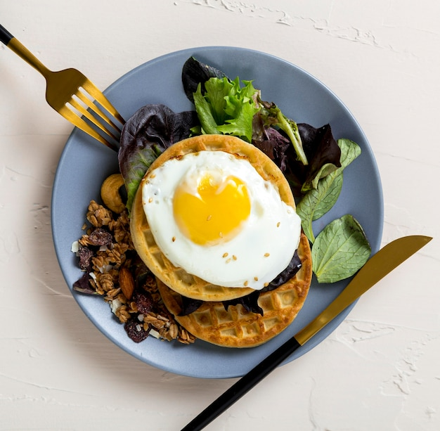 Top view healthy breakfast ready to be served Free Photo