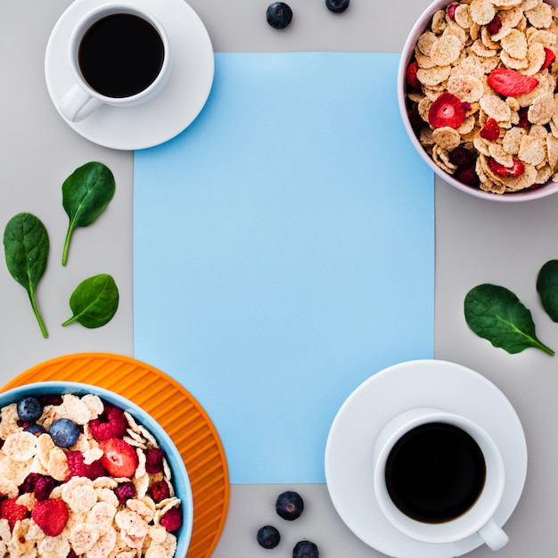 Top view of healthy breakfast with empty frame Free Photo