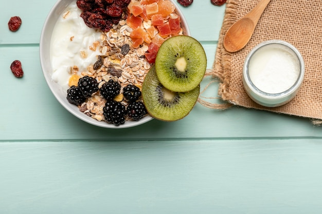 Top view healthy breakfast with muesli Free Photo