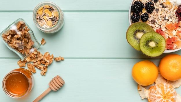 Top view healthy breakfast with muesli Free Photo