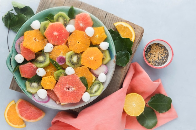 Top view healthy flavorful fruit salad Free Photo