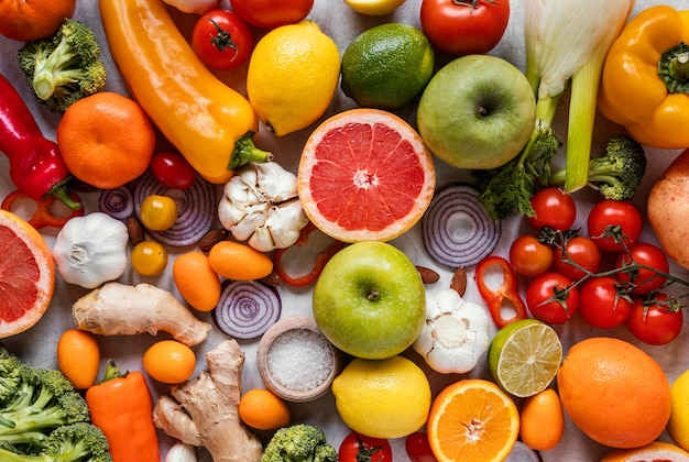 Top view healthy food for immunity boosting composition Free Photo