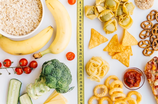Top view healthy food vs unhealthy food Photo | Free Download