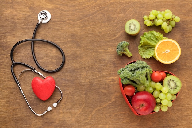 Top view healthy food for world heart day Free Photo