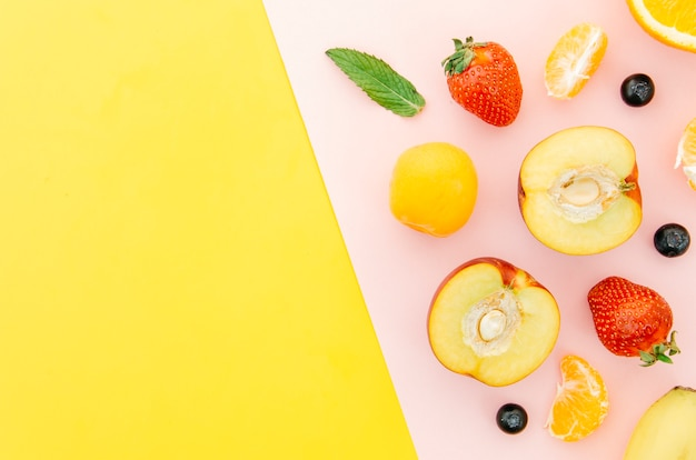 Top view healthy fruits with copy space Free Photo