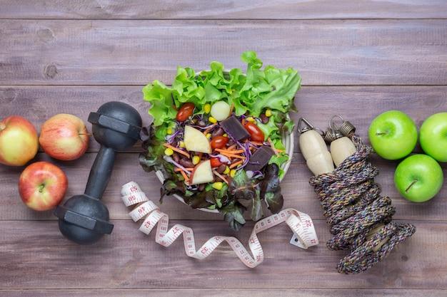 Top view of healthy lifestyle concept Premium Photo