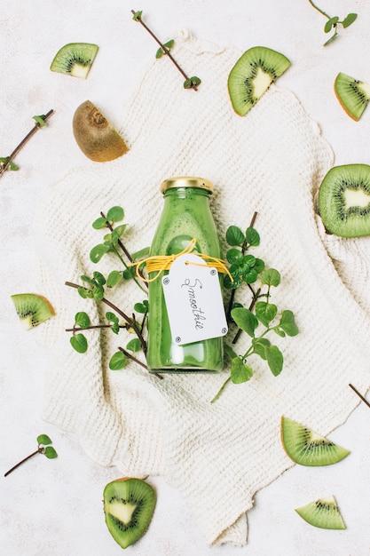 Top view healthy smoothie with kiwi Free Photo