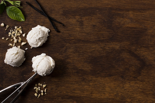 Top view homemade ice cream scoops with copy space Premium Photo