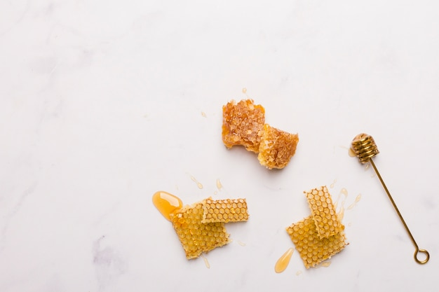 Top view honey spoon with honeycomb pieces Free Photo
