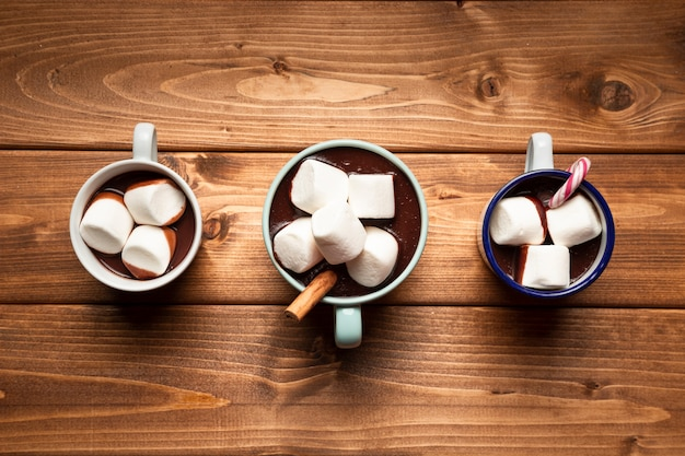 Top view hot chocolate with marshmallows Free Photo