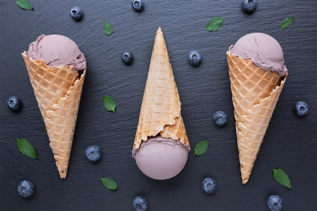 Top view of ice cream with blueberries Free Photo