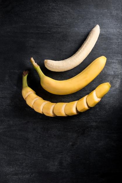 Вид сверху изображение фруктового банана Бесплатные Фотографии