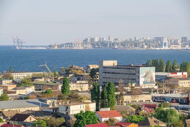Top view of the industrial zone of odessa, ukraine Premium Photo