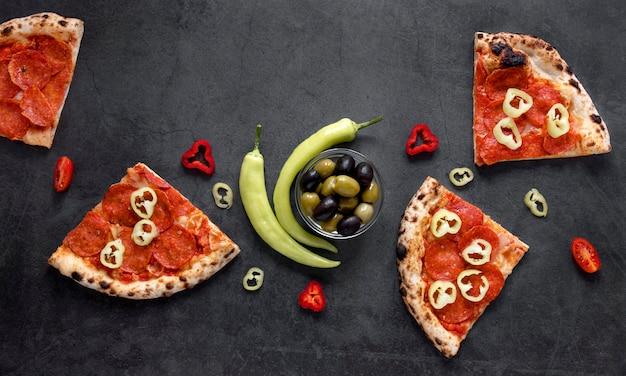 トップビューイタリア料理組成 無料写真