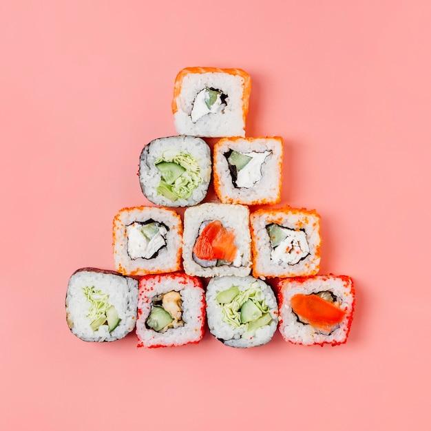上面図日本の寿司の配置 無料写真